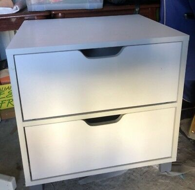 Bedside Table with 2 Drawers Unit Storage White