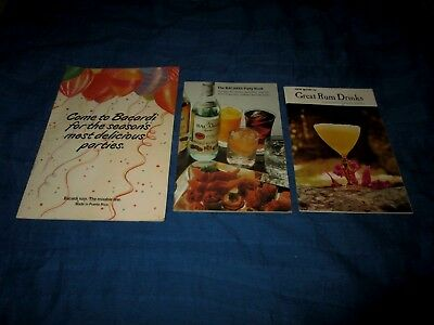 Lot Of 3 Vintate Rum Drink Recipe Booklets-Bacardi Party Book & More