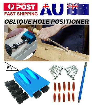 28pcs Dual Pocket Hole Jig Kit 6/8/10mm 15° Angle Adapter for Woodworking Guide