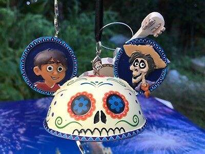 Disney Parks Coco Ear Hat Ornament Miguel Hector Guitar Hand Painted SugarSkull