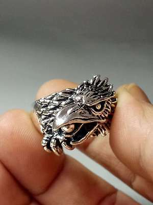 Exquisite Collectable Tibet Silver Hand Carved Crow Ring z1016