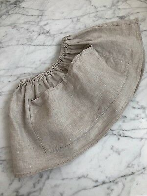 Soor Ploom Natural Linen Emelia Skirt With Apron Pockets  18-24 Months