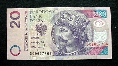 1994 POLAND Banknote currency 20 zlotys XF+ HIGH QUALITY