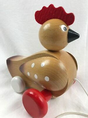 Wooden Pull Toy Chicken Gently Used rooster rare hard to find HTF wood hen farm