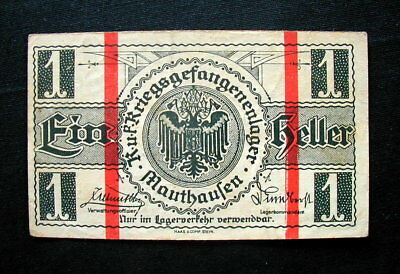 1918 AUSTRIA War WWI Prisoners rare Banknote 1 heller XF Mauthausen Lager Camp