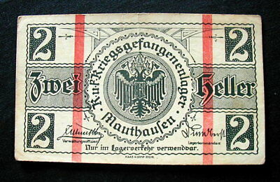 1918 AUSTRIA War WWI Prisoners rare Banknote 2 heller XF Mauthausen Lager Camp