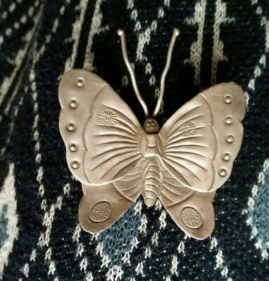 Hill tribe silver butterfly pendant