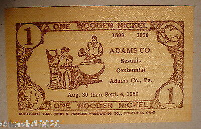 Wooden Nickel Adams County PA 1950 Sesqui Centenial Leighton Taylor Phonograph