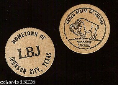 Wooden Souvenir Nickel Johnson City Texas TX Hometown of LBJ Johnson Vintage LOT