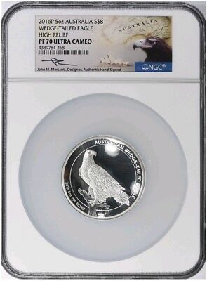 2016 Australia 5oz Silver Proof Wedge Tailed Eagle NGC PF70 High Relief Mercanti