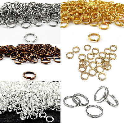 80-300Pcs Steel Double Split Key Rings Chain Jump O-Ring Connector Craft  4-14mm