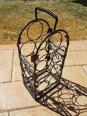Decorative 7 Bottle Metal Wine Rack