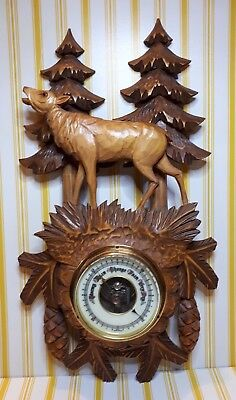 Vintage West German Barometer With Carved Wooden Surround - 16 Inches High