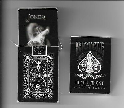 2 x Bicycle Black Ghost Playing Cards 2nd Ed by Ellusionist  (1 open + 1 sealed)