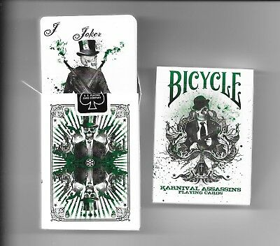 2 x KARNIVAL ASSASSINS GREEN LIMITED ED BICYCLE DECK by BBM -1 sealed + 1 opened