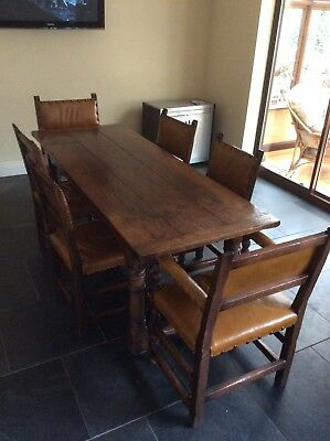 Solid Oak Reproduction Dining Table And 6 Chairs
