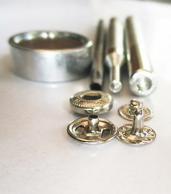 Button Glove snap fasteners 10mm silver with hand setter