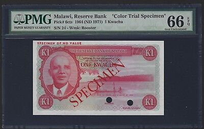 1964 1971 Malawi 1 Kwacha Red Color Trial Specimen, PMG 66 EPQ GEM UNC, P-6cts