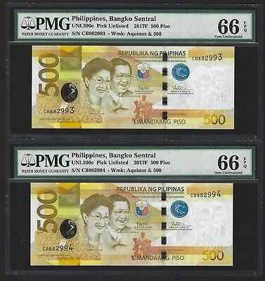 2017 F Philippines 500 Piso, P-NEW, PMG 66 EPQ GEM UNC, 2x New Type, Duterte Sig