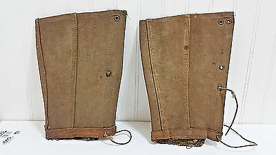"Antique Boot Covers Vtg Military Gaiters Spats 10 ½"" Lace Up Civil War? Pre WWI"