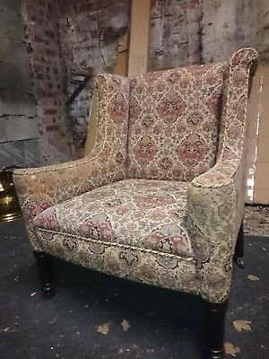 Edwardian armchair:  winged back, Red pattern original material