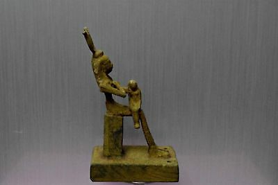 ANCIENT EGYPT ANTIQUE EGYPTIAN Bronze Isis Nursing Horus (1500–300 BC