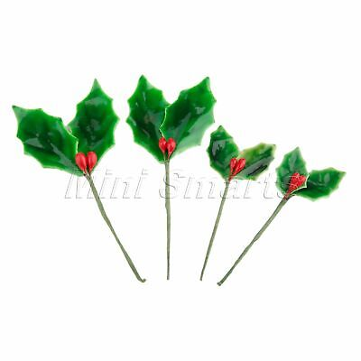 10x Party Decoration Artificial Berries Branch Fake Flower Fruit Green Leaves
