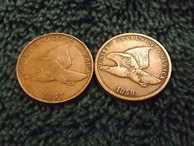Lot of (2) 1857 & 1858 Flying Eagle Cents, copper penny