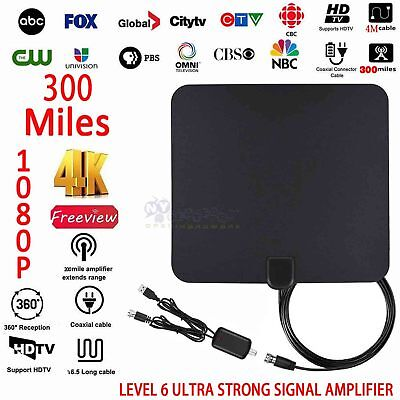 Flat Indoor Digital TV Antenna 300 Miles Range 1080P Signal Booster Amplifier HD