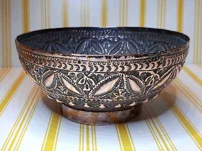 Antique Copper Hammered Bowl. 5.5 Inches Across X 2 3/4 Inches Tall
