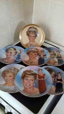 """PRINCESS DIANA """"WOMAN OF STYLE"""" SET OF 6 Porcelain Plates VGC plus 1 other"""