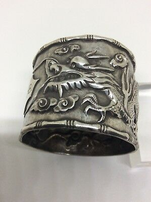 c1900 Chinese Solid Silver Signed Dragon Napkin Ring Meji