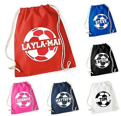 Personalised Name Cotton SPLIT Football Bag Drawstring School Club PE Custom