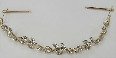 Flexible Gold Clear Rhinestone Crystal Hair Vine Headband Bridal Wedding #3679