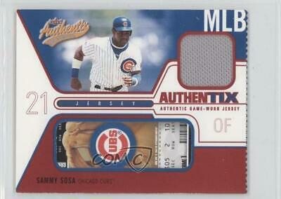 2004 Fleer Authentix Game Jerseys Ripped #JA-SS Sammy Sosa Chicago Cubs Card