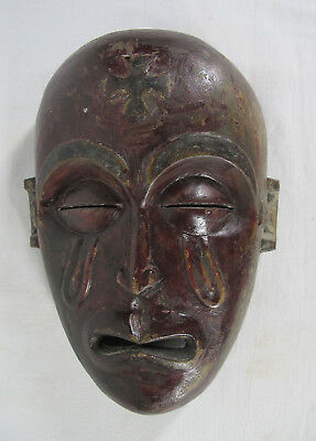 Vintage African Chokwe Tribe Hand Carved Wooden Tribal Face Mask Zaire #4 yqz