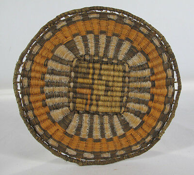 "Vintage Native American Indian Hand Woven Hopi Wicker Basket 9"" Tray Plaque  yqz"