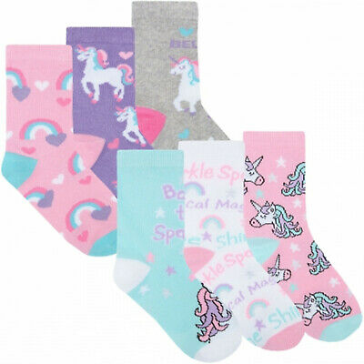 6 pairs Girls Novelty Unicorn Character Soft Cotton Rich Ankle Socks