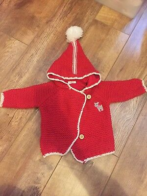 Next Baby Size 3-6months Beautiful Red Knitted Cardigan
