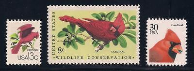 Cardinals - Set Of 3 U.s. Postage Stamps - Mint Condition