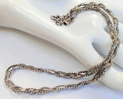 Fine quality vintage sterling silver woven design chain necklace