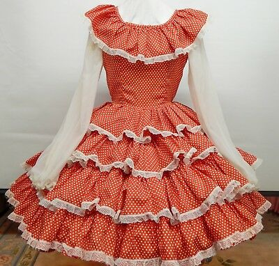 Red And White Dotted Silky Square Dance Dress