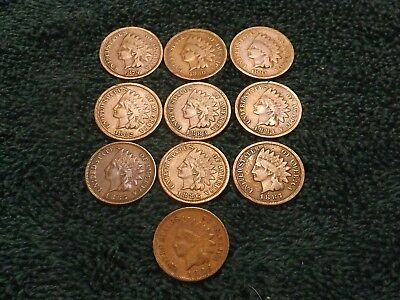 Lot of 10 Indian Head Pennies, 1879 1880 1881 1882 1883 1884 1885 1886 1887 1888