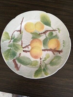 "K&G St Clements France Majolica Fruit Plate 8 1/4"" Diameter-Pretty !"