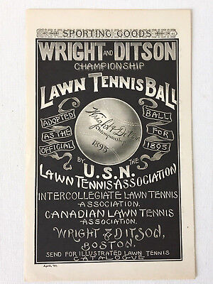 Antique Wright and Ditson Championship Lawn Tennis Ball Advertisement - 1895