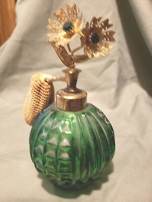 Antique Green Cut Glass Metal Jeweled Flower Perfume Bottle