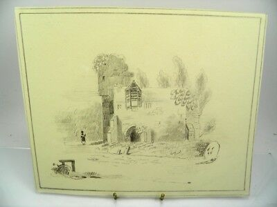 Antique 19th century English School pencil drawing landscape with ruins