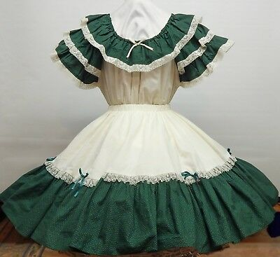 2 Piece Green And Cream Square Dance Dress