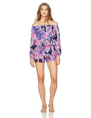 357ac978656 Lilly Pulitzer Nwt Xl Lana Romper Bright Navy Palms Up New Off The Shoulder