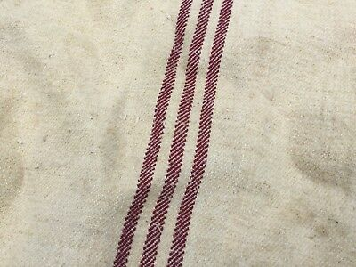 Antique Burgundy Ticking Grain Sack Hemp Hessian French Hungarian Striped Fabric